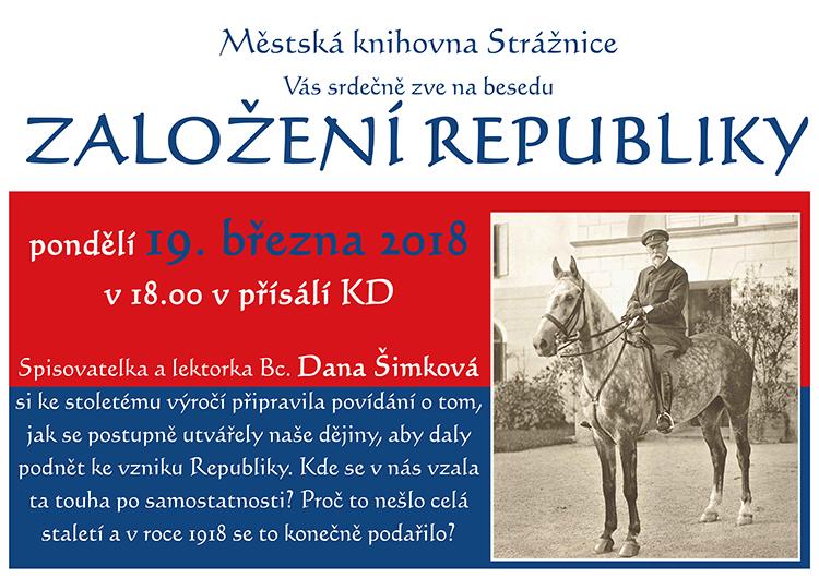 Založení Republiky, Dana Šimková, 19. 3. 2018 v 18.00