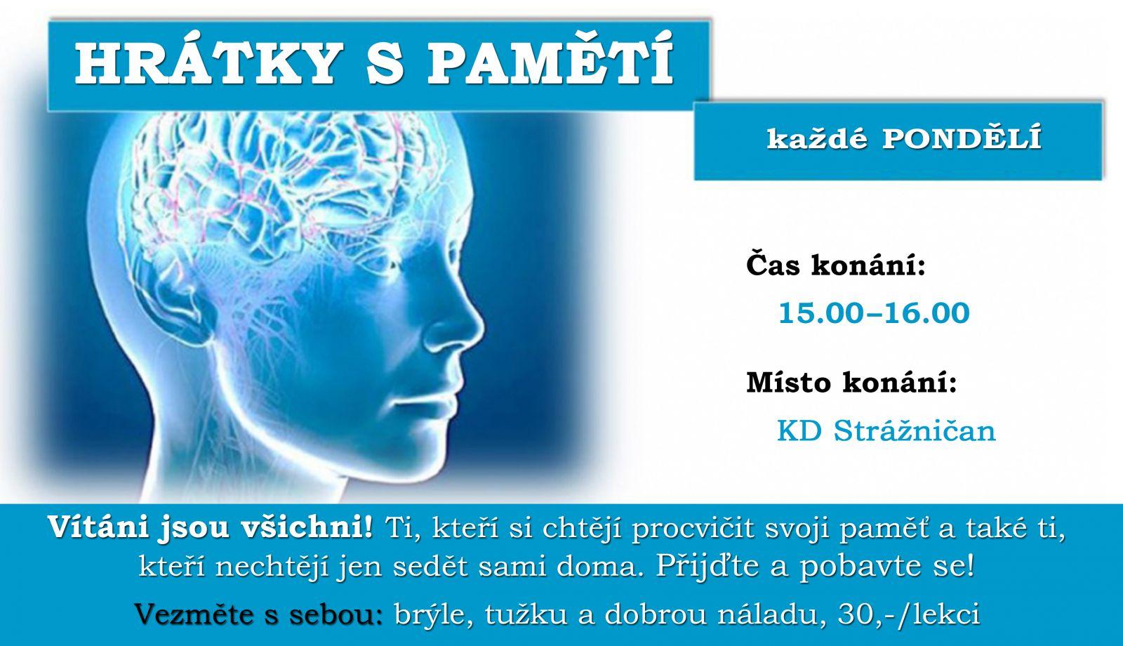Hrátky s pamětí, pondělí 15.00 - 16.00